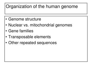 Organization of the human genome