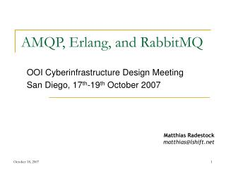 AMQP, Erlang, and RabbitMQ