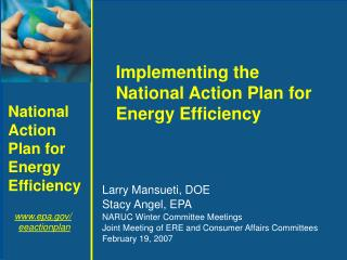 Larry Mansueti, DOE Stacy Angel, EPA NARUC Winter Committee Meetings