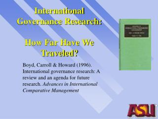 International Governance Research: How Far Have We Traveled?