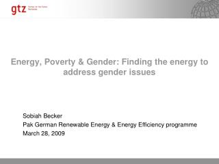 Energy, Poverty & Gender: Finding the energy to address gender issues