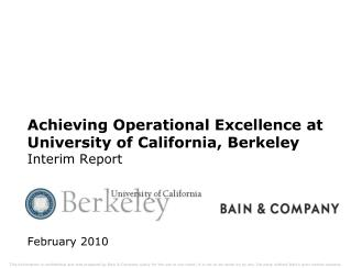 Achieving Operational Excellence at University of California, Berkeley Interim Report