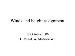 Winds and height assignment