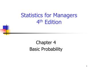 Statistics for Managers  4 th  Edition