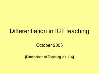 Differentiation in ICT teaching