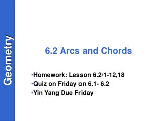 6.2 Arcs and Chords