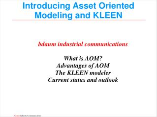 Introducing Asset Oriented Modeling and KLEEN