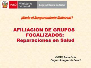 AFILIACION DE GRUPOS   FOCALIZADOS:  Reparaciones en Salud