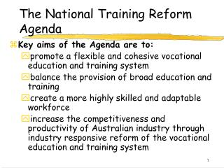 The National Training Reform Agenda