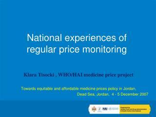 National experiences of regular price monitoring