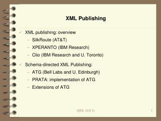 XML Publishing