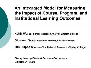 Measuring the Impact of Learning Outcomes