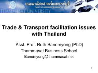 Trade  Transport facilitation issues with Thailand