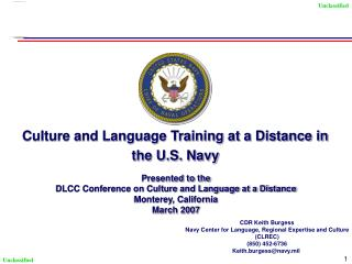 Culture and Language Training at a Distance in the U.S. Navy