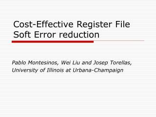 Cost-Effective Register File Soft Error reduction