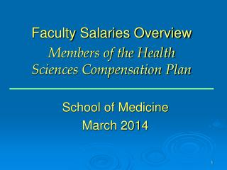 Faculty Salaries Overview  Members of the Health  Sciences Compensation Plan