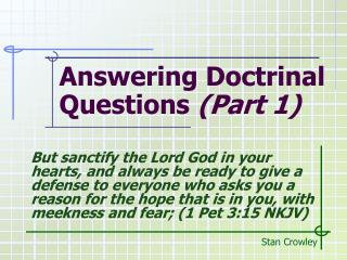 Answering Doctrinal Questions  (Part 1)