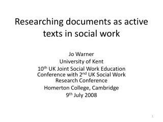 Researching documents as active texts in social work
