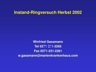 Instand-Ringversuch Herbst 2002