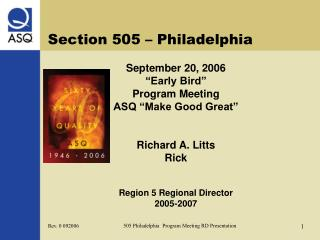 Section 505 – Philadelphia