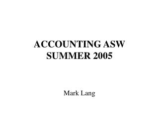 ACCOUNTING ASW SUMMER 2005