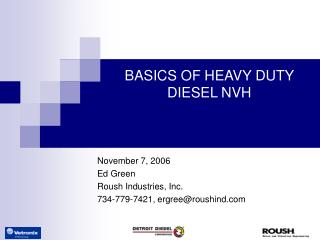 BASICS OF HEAVY DUTY DIESEL NVH