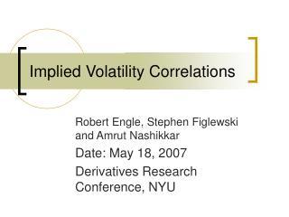 Implied Volatility Correlations