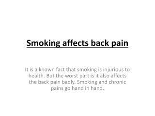 Smoking affects back pain