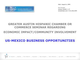 GREATER AUSTIN HISPANIC CHAMBER OR COMMERCE SEMINAR REGARDING