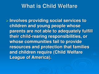 What is Child Welfare