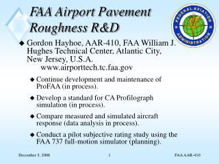FAA Airport Pavement Roughness R&D