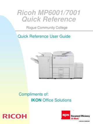 Ricoh MP6001/7001 Quick Reference
