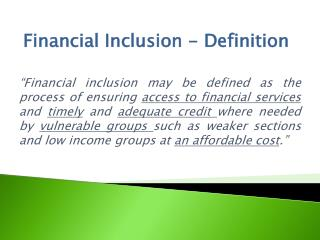 Financial Inclusion - Definition