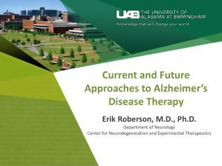 Current and Future Approaches to Alzheimer's Disease Therapy