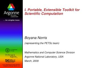 I. Portable, Extensible Toolkit for Scientific Computation