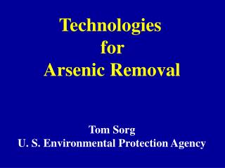 Technologies  for  Arsenic Removal