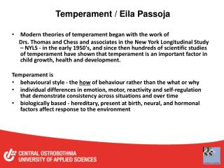 Temperament / Eila Passoja
