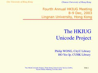 The HKIUG  Unicode Project