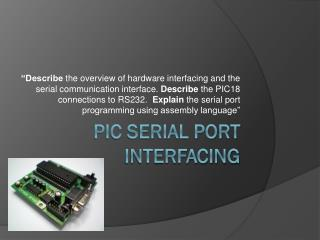 PIC Serial Port Interfacing