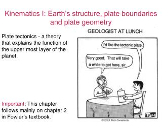 Kinematics I: Earth's structure, plate boundaries and plate geometry