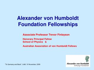 Alexander von Humboldt Foundation Fellowships