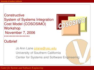 Jo Ann Lane  jolane@usc University of Southern California