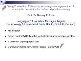 My research Georg Forster/AvH fellowship in strategic management perspective
