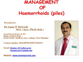 MANAGEMENT  OF   Haemorrhoids (piles)