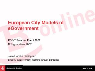 European City Models of eGovernment