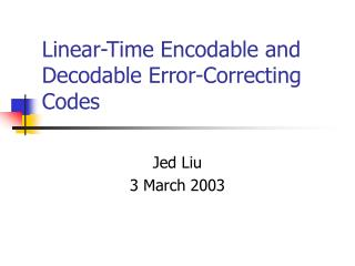 Linear-Time Encodable and Decodable Error-Correcting Codes