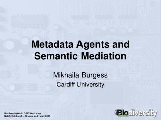 Metadata Agents and Semantic Mediation