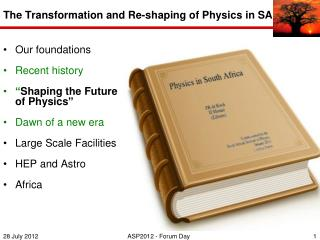 The Transformation and Re-shaping  of Physics in SA