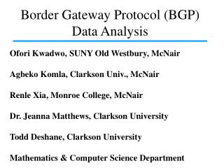 Border Gateway Protocol (BGP) Data Analysis