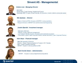 Sinvent AS - Managementet